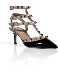Valentino Blackpowder Patent Leather Rockstud Kitten Heels - Lyst
