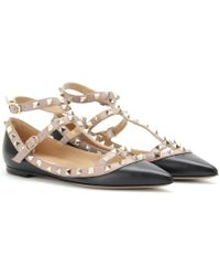 Valentino Rockstud Leather Ballerinas with Ankle Straps - Lyst