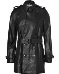 Burberry Black Leather Mid Length Britton Trench Coat - Lyst