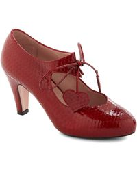 ModCloth Heart Of Bold Heel in Carmine Coil - Lyst