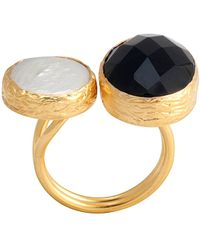 Toosis Onyx and A Pearl Black White Ring - Lyst