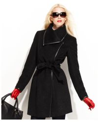 Vince Camuto Asymmetrical Collar Belted Trench Coat - Lyst