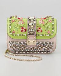 Valentino Glamlock Small Flap Bag  green - Lyst