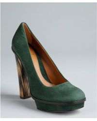 Fendi Forest Green Suede Square Toe Platform Stacked Heels - Lyst
