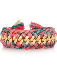 Aurelie Bidermann Do Brasil Gold Plated Woven Bracelet - Lyst