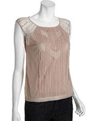BCBGMAXAZRIA Nude Sheer Mesh Sleeveless Blouse - Lyst