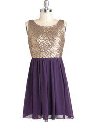 ModCloth Tennesseequin Waltz Dress gold - Lyst