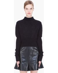 Rick Owens Black Ala Cropped Sweater - Lyst