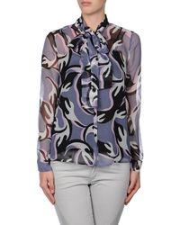 Diane von Furstenberg Long Sleeve Shirt - Lyst