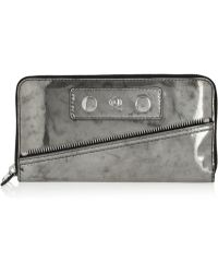 Alexander McQueen Metallic Patent Leather Wallet - Lyst