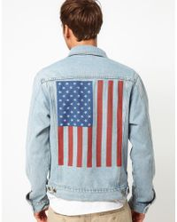American Apparel - Denim Jacket with Flag Print - Lyst