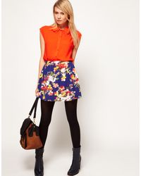 ASOS Collection Asos Skater Skirt in Sweet Pea Print - Lyst
