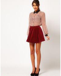 ASOS Collection Asos Skater Skirt in Velvet - Lyst