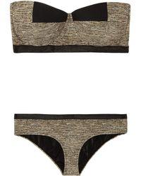 Bottega Veneta - Basket-print Bandeau Bikini - Lyst