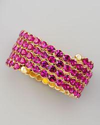 Cara - Crystal Spiral Bracelet Pink - Lyst