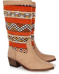 Cobra Society Handwoven Wool and Brushedleather Boots - Lyst