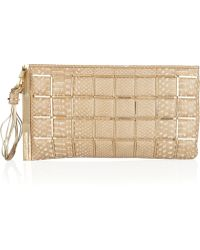 Hervé Léger - Embellished Pythoneffect Leather Clutch - Lyst