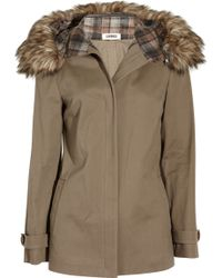 L'Agence - Cotton-twill and Faux Fur Hooded Coat - Lyst