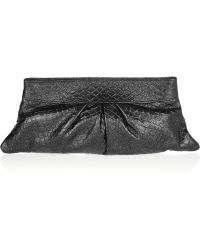 Lauren Merkin - Eve Glitterfinished Pythoneffect Leather Clutch - Lyst