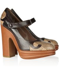 Marni Snakeeffect Leather Mary Jane Pumps - Lyst