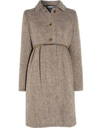 Miu Miu Wool Blend Tweed Coat - Lyst