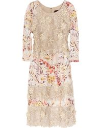 Mulberry - Silk-organza Lace and Printed Crepe Dress - Lyst