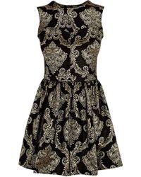 Oasis Baroque Jacquard Dress gold - Lyst