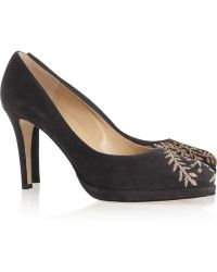 Oscar de la Renta Zoey Embroidered Suede Pumps - Lyst