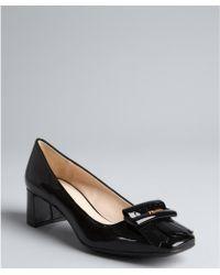 Prada Prada Sport Black Patent Leather Square Toe Stacked Heel Loafers - Lyst