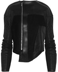 Rick Owens Leather and Woolblend Jacket - Lyst