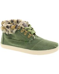 Toms Highlands Green Leopard Fleece Ankle Boots - Lyst