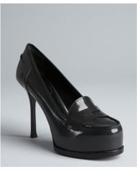 Saint Laurent Tar Leather Platform Penny Loafer Pumps - Lyst