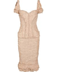 Alexander McQueen Embellished Crinkled Organza and Copper Thread Dress - Lyst