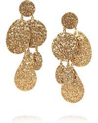 Oscar de la Renta Hammered 24karat Gold Plated Clip Earrings - Lyst