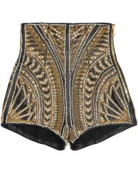 Balmain Embellished Leather Shorts - Lyst
