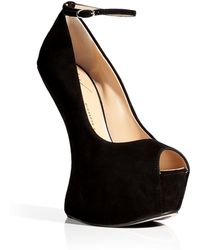 Giuseppe Zanotti Black Suede Platform Peep Toes with Ankle Strap - Lyst