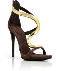 Giuseppe Zanotti Cacao Suede Sandals with Sculptural Goldtoned Metal Strap - Lyst