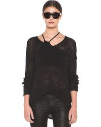 Helmut Lang Helmut Looped Cotton Asymmetrical Pullover in Black - Lyst