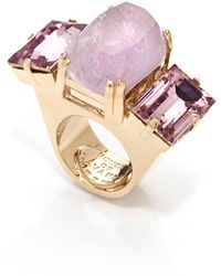 House Of Lavande Jeweled Knot Purple Amethyst Oversized Cocktail Ring - Lyst
