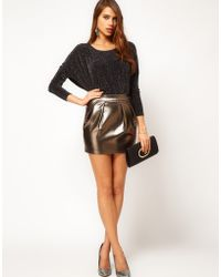 ASOS Collection Asos Mini Skirt in Metallic with Pleats gold - Lyst