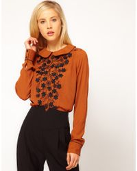 ASOS Collection Asos Blouse with Contrast Floral Applique - Lyst