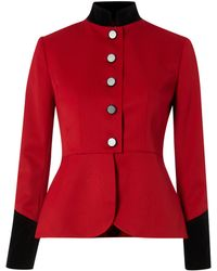 Lauren by Ralph Lauren Button Down Peplum Jacket with Velvet Trim - Lyst