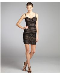 Max & Cleo - Black Lace Overlay Samantha Ruched Dress - Lyst
