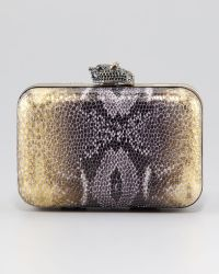House of Harlow 1960 - Marley Snake Embossed Clutch Gold - Lyst
