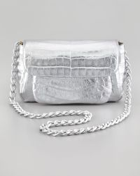 Nancy Gonzalez - Crocodile Compartmentalized Crossbody Bag Silver - Lyst