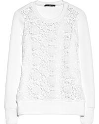 Tibi Neoprene and Floral Lace Sweatshirt - Lyst