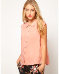 ASOS Collection   Asos Blouse with Folded Collar   Lyst