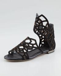 B Brian Atwood - Cutoutsuede Flat Sandal Black - Lyst