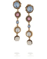 Oscar de la Renta 24karat Gold-Plated Crystal Clip Earrings - Lyst