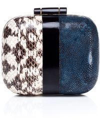 R & Y Augousti Two Tone Box Clutch - Lyst
